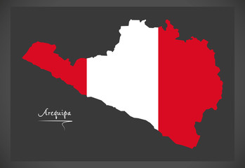 Arequipa map with Peruvian national flag illustration