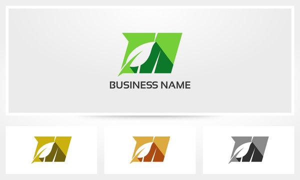 Letter M Leaf Environment Natural Logo