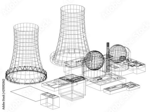 Nuclear Power Plant Nuclear Reactor Architect Blueprint Isolated