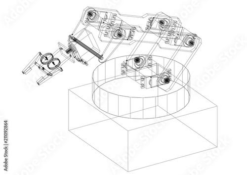 industrial robotic arm architect blueprint isolated stock photo