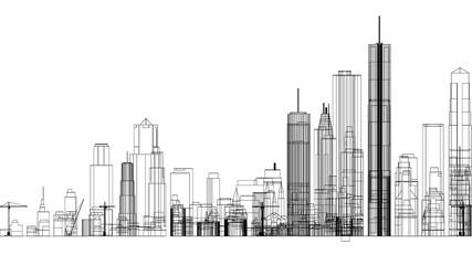 City Concept Architect Blueprint - isolated