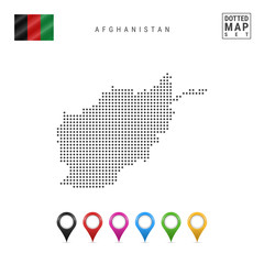 Dots Pattern Vector Map of Afganistan. Stylized Silhouette of Afganistan. Flag of Afganistan. Multicolored Map Markers