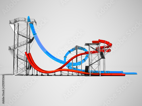 Modern two blue and red water slides for an aquapark on the