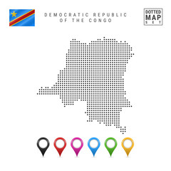 Dots Pattern Vector Map of Democratic Republic of the Congo. Flag of Democratic Republic of the Congo. Map Markers Set
