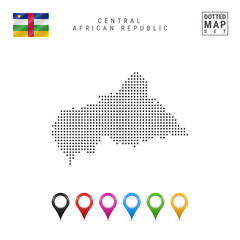 Dots Pattern Vector Map of Central African Republic - CAR . Silhouette of CAR. Flag of CAR. Multicolored Map Markers Set