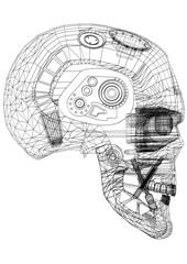 Robot Head Design Architect Blueprint - isolated