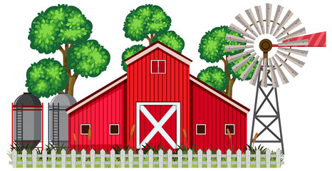A Barn House on White Background
