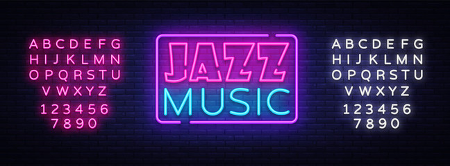 Poster Positive Typography Jazz Music neon sign vector. Jazz Music design template neon sign, light banner, neon signboard, nightly bright advertising. Vector illustration. Editing text neon sign