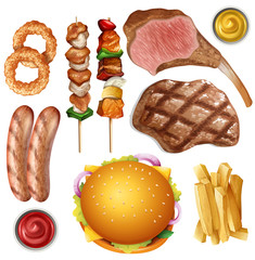Set of different barbecue food