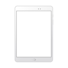 White tablet computer mockup with blank screen - front view. Vector illustration