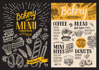 Bakery dessert menu for restaurant on blackboard background. Design template with food hand-drawn graphic illustrations. Vector food flyer for bar and cafe.