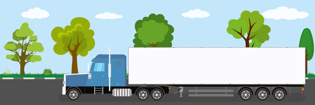 Trailer truck long vehicle on road,natural landscape in the background,