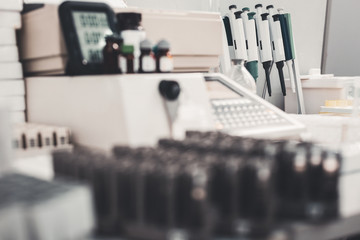 Laboratory. Selective focus of modern blood pipette instruments in well equipped hospital