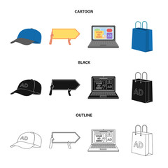 Baseball cap, pointer in hands, laptop, shopping bag.Advertising,set collection icons in cartoon,black,outline style vector symbol stock illustration web.