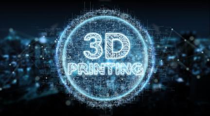 3D printing digital text hologram background 3D rendering