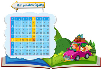 Multiplication square with couple in a car