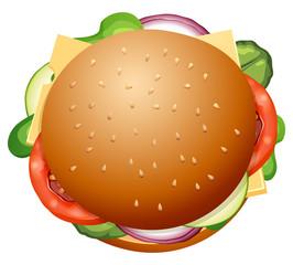 Isolated large fresh hamburger