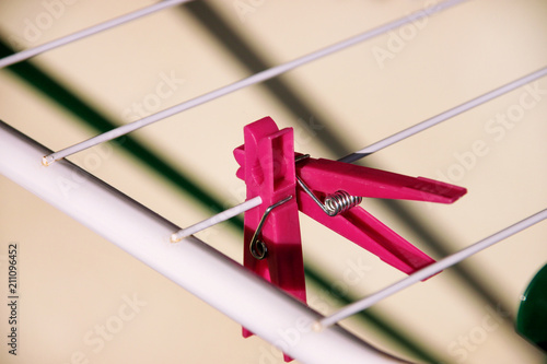 Cloth Clothespins On Drying Rack Selective Focus Colorful Plastic