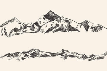 Vector Hand Drawn Mountains, Outline Sketch Drawings.