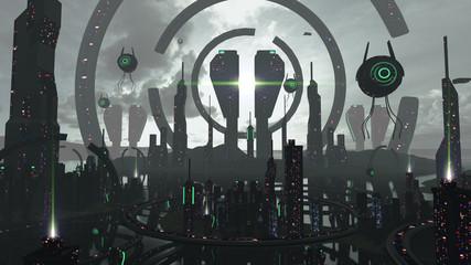 Extravagant futuristic spaceship model. 3D rendering