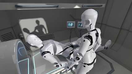 Male and female nurse robots in a futuristic medical facility. 3d rendering