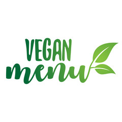 vegan menu-Vector Lettering. Handwritten calligraphy for restaurant, cafe menu. Vector elements for labels, logos, badges, stickers or icons, t-shirts or mugs. Vector illustration, healthy food design