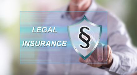 Man touching a legal insurance concept