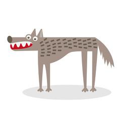 Vector wolf flat illustration.