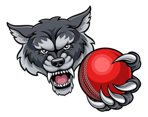 Wolf Holding Cricket Ball Mascot