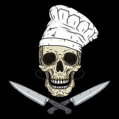 Skull in toque with knifes. Cartoon skull. Chef skull.