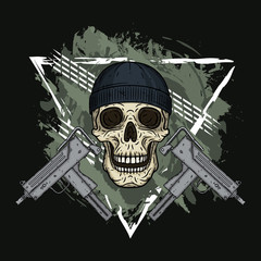 Skull. Vector illustration of human skull with black hat and two uzi. Cartoon skull.