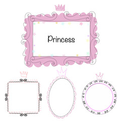 Set picture frames, hand drawn mirror