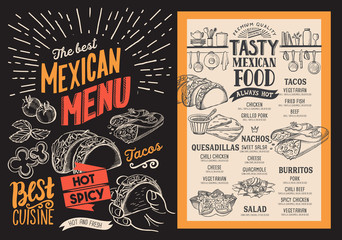 Mexican menu for restaurant. Vector food flyer for bar and cafe. Design template with vintage hand-drawn illustrations.