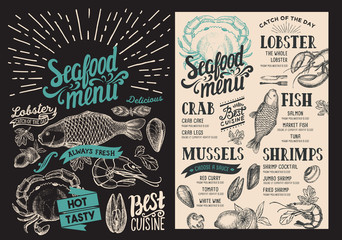 Seafood menu for restaurant on blackboard background. Vector food flyer for bar and cafe. Design template with vintage hand-drawn illustrations.