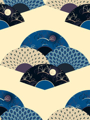 asian style seamless pattern with decorated fans in blue shades