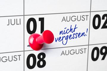 Wandkalender - 01. August