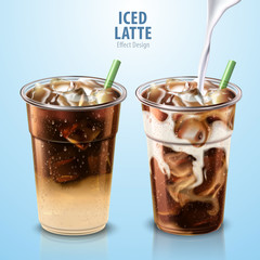 Iced latte mockup set