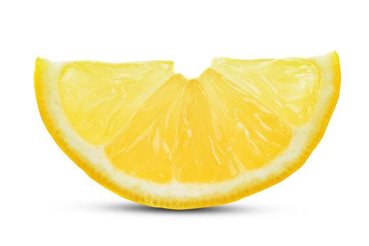 One slice of lemon citrus fruit isolated on white background.