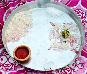 Traditional Religious Worship Puja Thali in Wedding