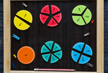 colorful fractions in mathematics on the chalkboard. interesting math for kids. education, back to school concept