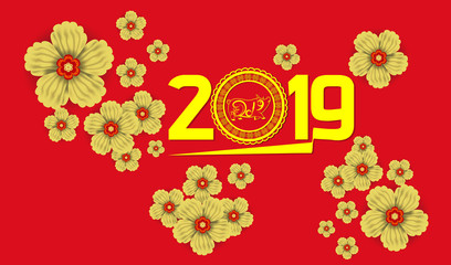 2019 Chinese New Year Paper Cutting Year of Pig Vector Design for your greetings card, flyers, invitation, posters, brochure, banners, calendar