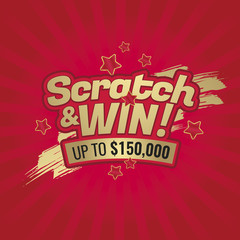 Scratch and win letters. Scratched effect background and stars. Place for prize. For tickets, signs, promotion announcements, banners. Golden colors letters.