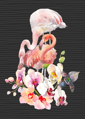 Hand drawn watercolor illustration of tender orchids branch border and two flamingo on black background with lines. Tropical illustration for party invitation design, banner, tshirt print