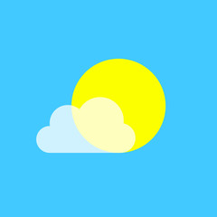 Vector icons with sun and transparent cloud. Fashionable vector symbol for website design, web button, mobile application. Flat design