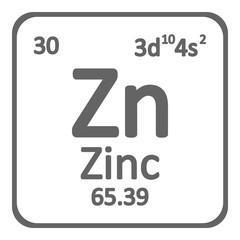 Periodic table element zinc icon.