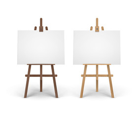 Vector Set of Wooden Brown Sienna Easels with Mock Up Empty Blank Horizontal Canvases Isolated on Background
