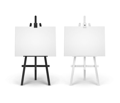 Vector Set of Wooden Black White Easels with Mock Up Empty Blank Horizontal Canvases Isolated on Background