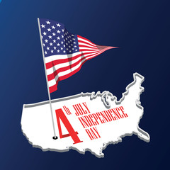 American independence day. USA map. United States flag. Vector Flat design
