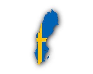 Karte und Fahne von Schweden