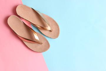 female slippers on a colored background top view. minimalism, women's shoes.